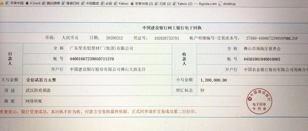 践行企业社会责任,坚美铝业捐赠120万驰援武汉